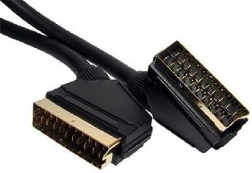 rhinocables Scart-Kabel 21 Polig Scart Videokabel und Audio Vergoldet Kontakte Voll Verkabelt Scartstecker zu Scartstecker 3m