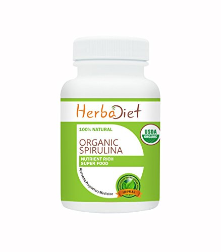 Herbadiet 100% PURE Organic Spirulina 500mg Maximum Strength Daily Dosage Tablets Pills Superfood Detox Cold Pressed (8 Tablets/ 1 Day Supply) by Herbadiet (Image #2)
