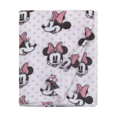 Disney Minnie Mouse, Pink, White And Black Super Soft Plush Baby Blanket, Pink, White, Black