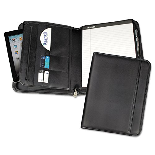 Samsill 70820 Professional Zippered Pad Holder Pockets/Slots Writing Pad Black by Samsill
