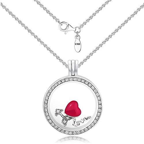 CKK Sterling Silver Necklace with Transparent Locket Maker I Love You for DIY Floating Locket Pendant Medium Necklace - Charm Locket Sterling Silver