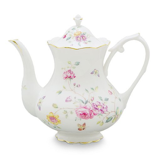 Gracie China by Coastline Imports 4-Cup Porcelain Teapot, Purple Floral by Gracie China by Coastline Imports