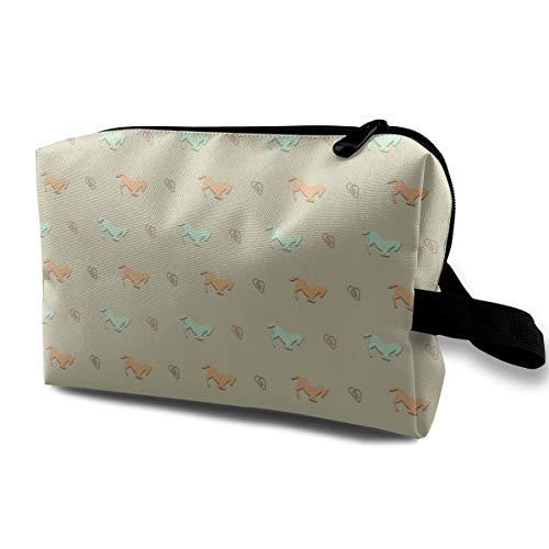 Horse Cosmetic Bags Makeup Organizer Bag Pouch Zipper Purse Handbag Clutch Bag]()