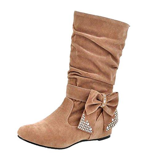 Nonbrand Dames De Grande Taille Bottes De Coin Interne Glisser Sur Les Chaussures Arc Velours Chameau