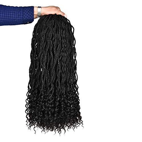 REFINED HAIR 6Packs 24Inch 24Roots/Pack Senegalese Twist Free End Wavy Crochet Braids Ombre Kanekalon Synthetic Crochet Braid Braiding Hair Extensions (24inch, 1B) ()