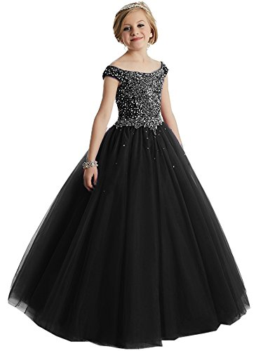 Girls Off the shoulder Glitz Sequins Hollow Corset Beauty Pageant Dress for Teens10 US Black (Beauty Pageants Dresses)