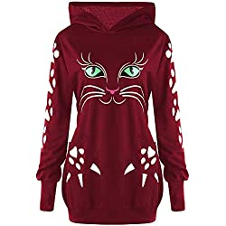 LisYOU Women's Cat Print Sweatshirt Long Sleeve Loose Pullover Shirt(XL,Wine Red)