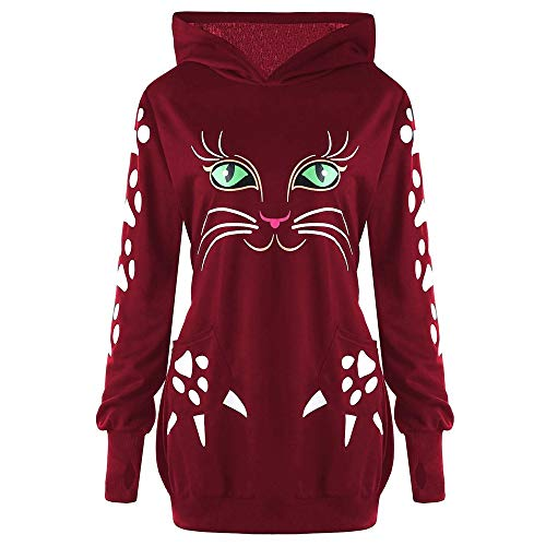 GOVOW Halloween Sweater Shirt for Women Cat Print Hoodie with Ears Hooded Pullover Tops Blouse(US:4/CN:S,Black)(US:14/CN:XXXL,Wine Red)