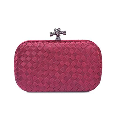 banchetto cena rosso Qyq Borsa vino tessuta a Fashion Borse donna Clutch mano Bag Evening ZnZRPfqv