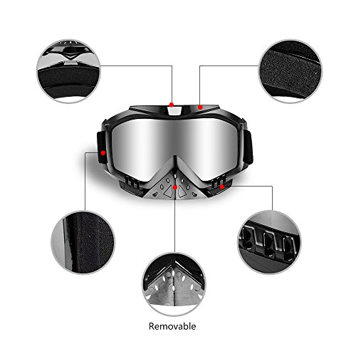 Dmeixs Motorcycle Goggles, Dirt Bike Goggles Grip For Helmet, Anti UV Windproof Dustproof Anti Fog Glasses for ATV Off Road Racing with Cool Look Headwear, Silver Lens, 2 in 1 by Dmeixs (Image #3)