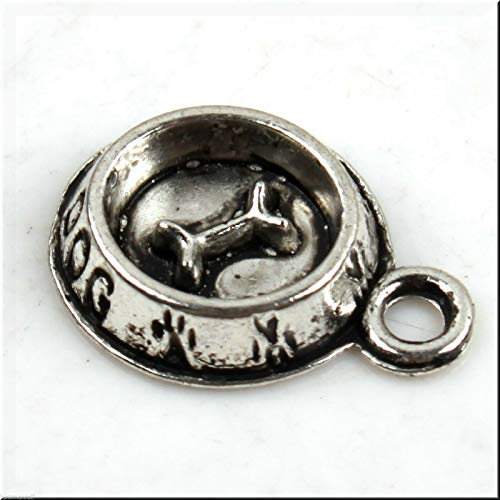 25 Silver Tone 3D Dog Bowl with Bone Charms DIY Jewelry Making Supply for Charm Pendant Bracelet by Charm Crazy ()