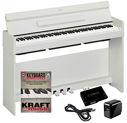 Yamaha Arius YDP-S34 Digital Piano – White with Wireless Bluetooth Adapter and Lesson Book
