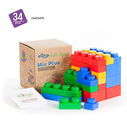UNiPLAY Soft Building Blocks - Mix Plus Series (34pcs). Educational and Creative Toys, Food Grade Material(Antibacterial), Non-Toxic, Non-BPA, 100% Safe for Kids, Toddlers, Baby, Preschoolers