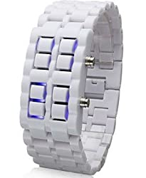 Faceless Blue LED Style Wrist Watches for Children's Best Gifts (White)