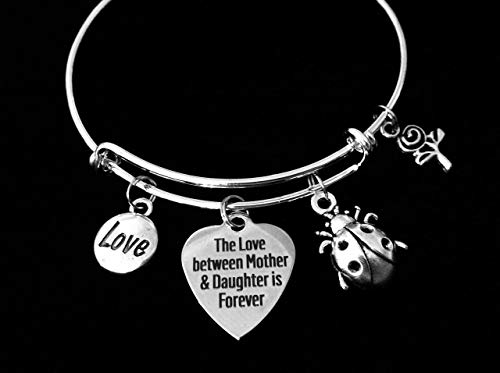 Mother Daughter Forever Love Little Lady Bug Expandable Charm Bracelet Silver Adjustable Bangle Gift
