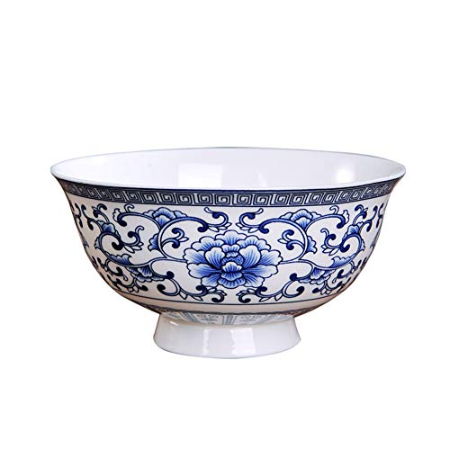 ZH Dish racks Ramen bowl,Soup bowl,Cereal bowl,Chinese style Antique bowl Anti-scalding Blue and white porcelain bowl Household Peony pattern 4.5 inches 6 inches (Size : 6 inches)