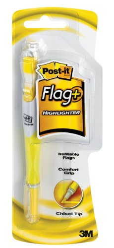 Post-it Flag+ Highlighter, Yellow, 50-Flags/Highlighter, 1-Pack