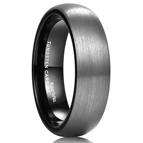 King Will DUO 6mm Black Domed Brushed Tungsten Carbide Ring Men Women Wedding Band Comfort Fit 6.5