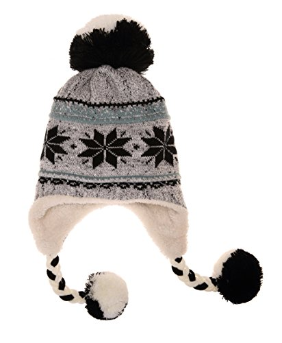 Dosoni Women Girl Winter Hats Knit Soft Warm Earflap Hood Cozy Large Snowflake Beani (Gray)