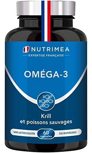 Omega 3 et Krill d'Antarctique   Cognition, Santé cardiaque et Système immunitaire   Huile de poissons sauvages pure   Fish oil Haute concentration en EPA/DHA   Fabrication Française   Nutrimea