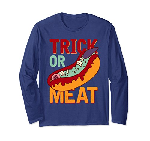 Unisex Trick Or Meat Funny Halloween Hot Dog Steak Shirt Large Navy -