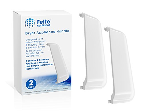 Fette Filter - Door Handle Compatible with Whirlpool Dryer W10861225. Pack of 2