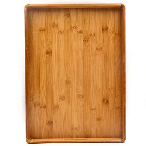 Bamber Extra Large Bamboo Serving Tray with Handles Decorative Coffee Tea Platter 20 x 12.8 x 2 Inches (Round Tray Teak)