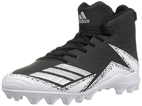 adidas Men's Freak X Carbon Mid Football Shoe, Black/Metallic Silver/White, 14 Medium US (All Star Game Cleats)
