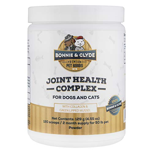 Dog & Cat Joint Supplement, Natural Green Lipped Mussel and Collagen, with Non-Chinese Glucosamine and Chondroitin for Dogs and Cats, Hip & Joint Supplement, No Filler Ingredients (4.55oz)