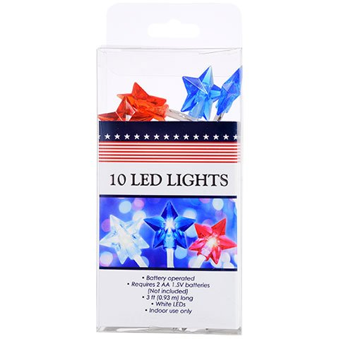Garden Collection® Battery-Operated Strands of Patriotic Star-Shaped LED Lights, 3 ft.]()