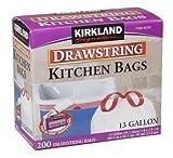 Kirkland Signature Drawstring Kitchen Trash Bags - 13 Gallon - 400 Count