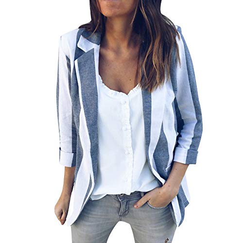 Womens Cardigan-Han Shi Office Work Long Sleeve Open Front Strip Print Casual Coat (Blue, L)