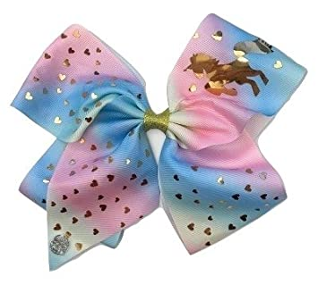 Amazon com : JoJo Siwa Gold Unicorn and Hearts Large Bow