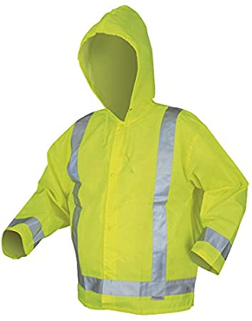Large Lime Green MCR Safety 500RJHL Luminator Class 3 Polyester//Polyurethane Jacket with Attached Hood and 3M Silver Reflective Stripes