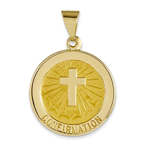 Confirmation 14 Carats Pendentif Médaille RONDE-Dimensions :  17 x 17 mm-JewelryWeb