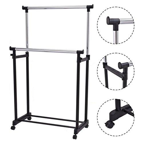 Portable Double Rail Adjustable Garment Rack Rolling Clothes Hanger Heavy Duty New #560 (Space Coast Craigslist Garage Sales)