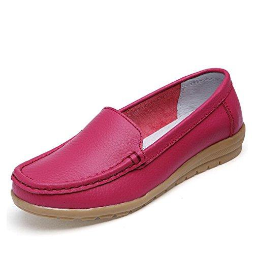 SHINIK Zapatos de mujer de cuero Primavera Verano Zapatos de mamá Low-Top Oxford Slip-Ons Zapatos de guisantes Mocasines planos Do
