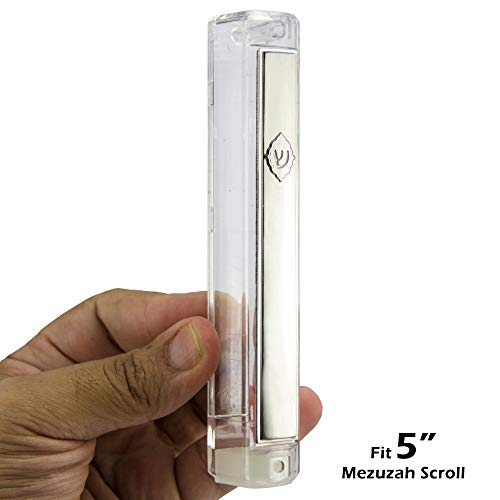 Judaica-MP Clear with Silver Plastic MEZUZAH CASE