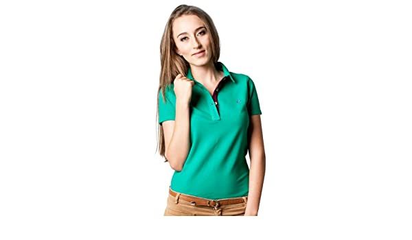 B FROG - Polo - para mujer Emerald mit lila Kragen small: Amazon.es: Ropa y accesorios