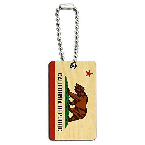 California Republic Flag Wood Wooden Rectangle Key Chain
