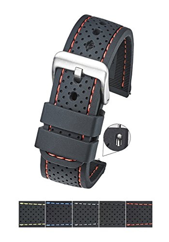 rproof Silicone Watch Band Strap with Quick Release – Soft Rubber Black Watch Band 22mm - red Stitching ()