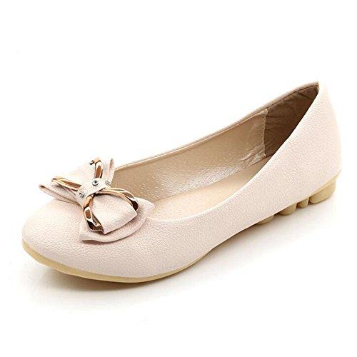 Minetom Mujer Verano Otoño Punta Redonda Zapatos Con Bowknot Estilo Dulce Ballet Plano Zapatos Beige