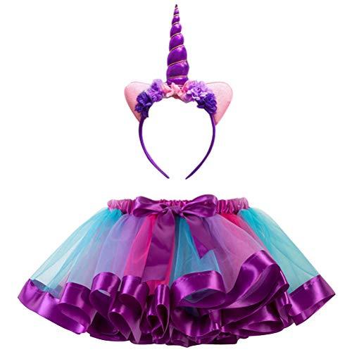ARAUS Meisje Regenboog Tutu Rok Party Dance Prinses Rok + Eenhoorn Hoofdband Outfit Set 2-11 Jaar