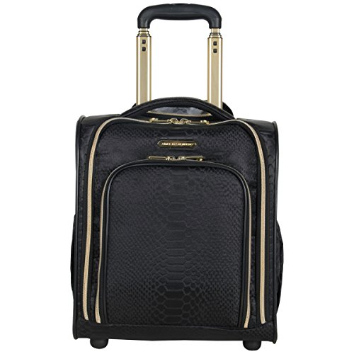 Aimee Kestenberg Womens Parker 16 Jacquard Polyester 2-Wheel Underseater Carry-on Luggage, Black