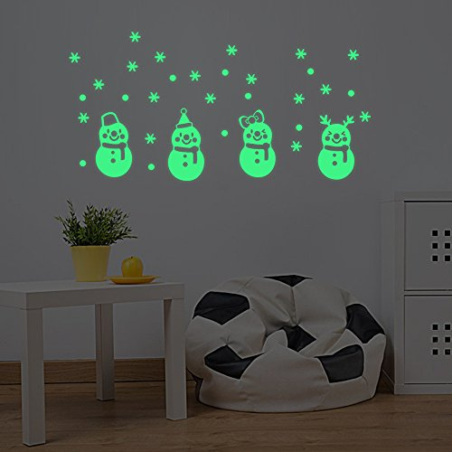 Decor Stick, coersd Christmas Glow Snowman Wall Stickers Living Room Luminous Stickers Window Decor