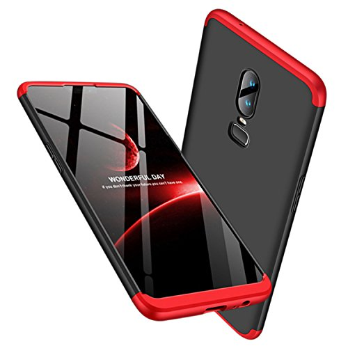 Leodea Oneplus 6 Case, 3 in 1 Ultra-Thin PC Hard Case Cover for Oneplus 6 2018 (Red+Black)