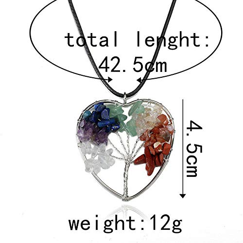 Tree of Life Heart Shaped Pendants Necklaces Spiritual Chakra Heal Stone Crystal