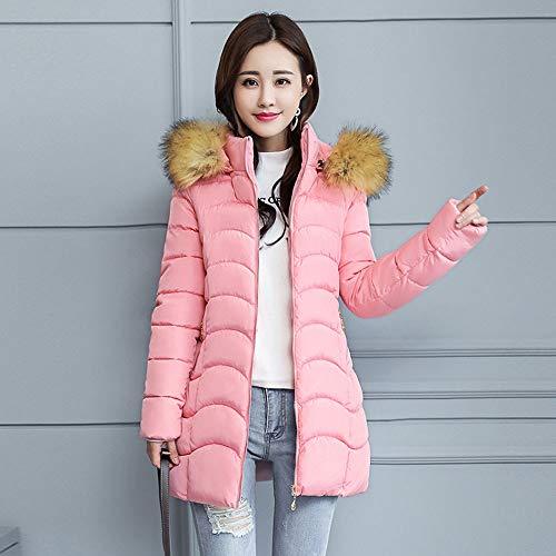 rosa pelliccia Winter Color Neck Cotton con cappuccio Coat imbottito in Casual Women Deelin Fashion Solid Big wPZUfx1qqt
