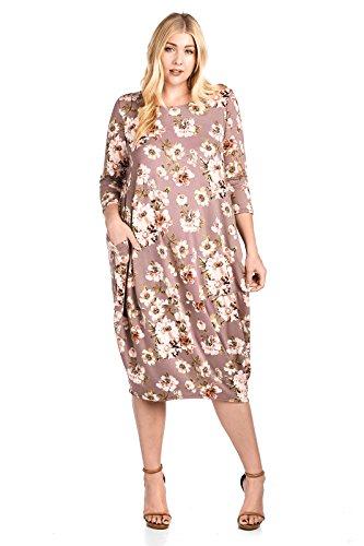 12 Ami Plus Size Solid 3/4 Sleeve Bubble Hem Pocket Midi Dress Mauve Floral XXL