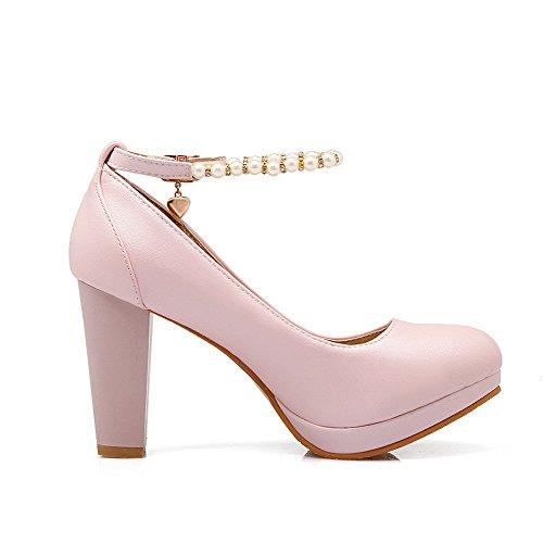 VogueZone009 Damen Schnalle PU Leder Rund Zehe Hoher Absatz Rein Pumps Schuhe, Pink, 39